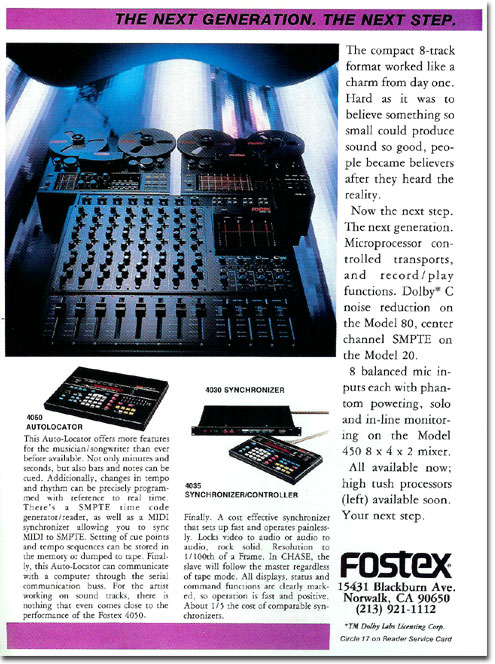 picture of Fostex tape recorder ad from 1986