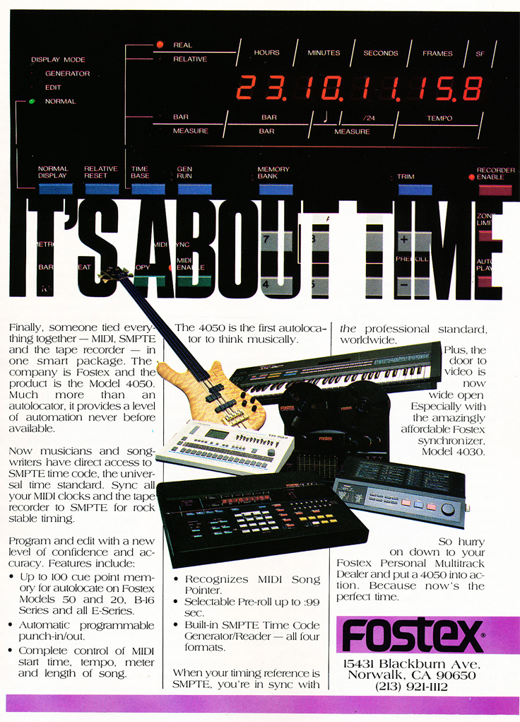 1987 ad for Fostex About Time  in Reel2ReelTexas' vintage recording collection