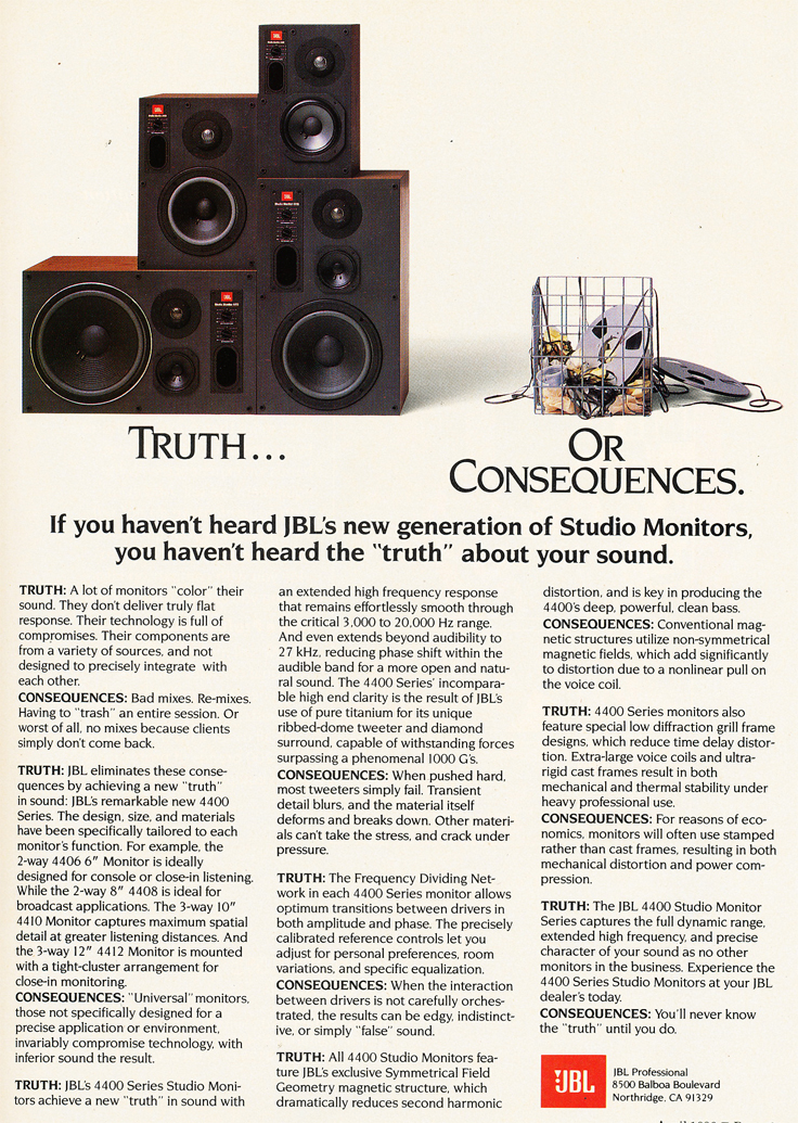 1987 ad for JBL studio speakers in Reel2ReelTexas' vintage recording collection