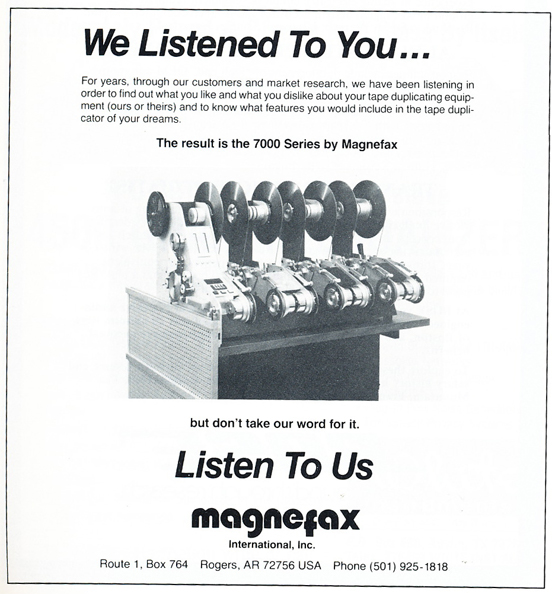 1986 ad for Magnefax in Reel2ReelTexas' vintage recording collection