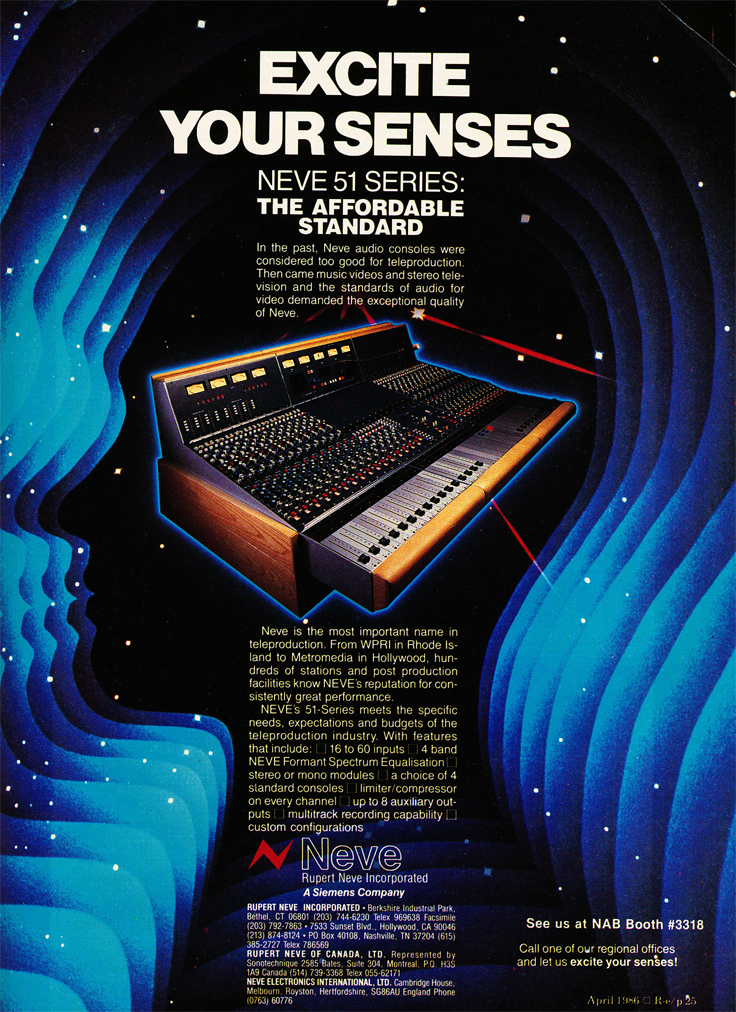 1986 ad for the Neve Series 51 recording console in Reel2ReelTexas.com's vintage recording collection