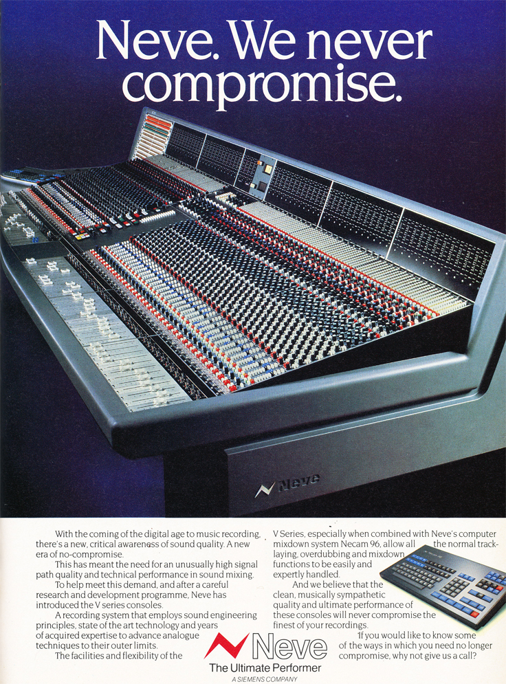 1986 ad for the Neve V Series  recording console in Reel2ReelTexas.com's vintage recording collection