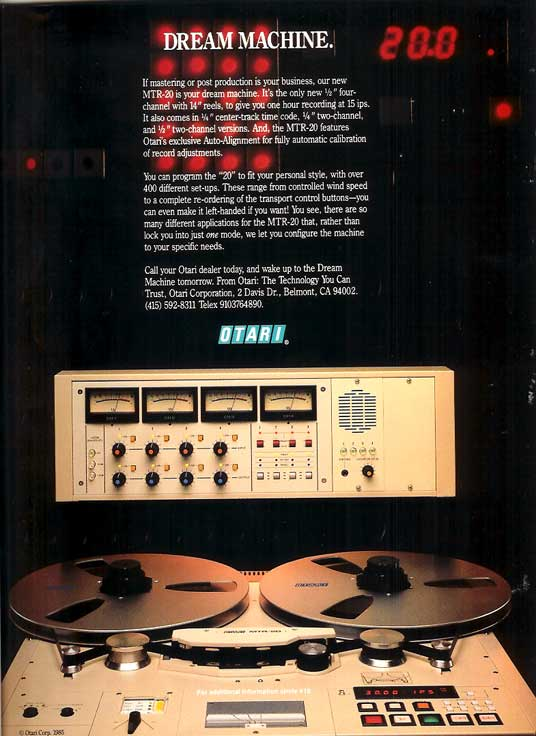 1986 ad for the Otari MTR 20 tape recorder in Reel2ReelTexas' vintage recording collection