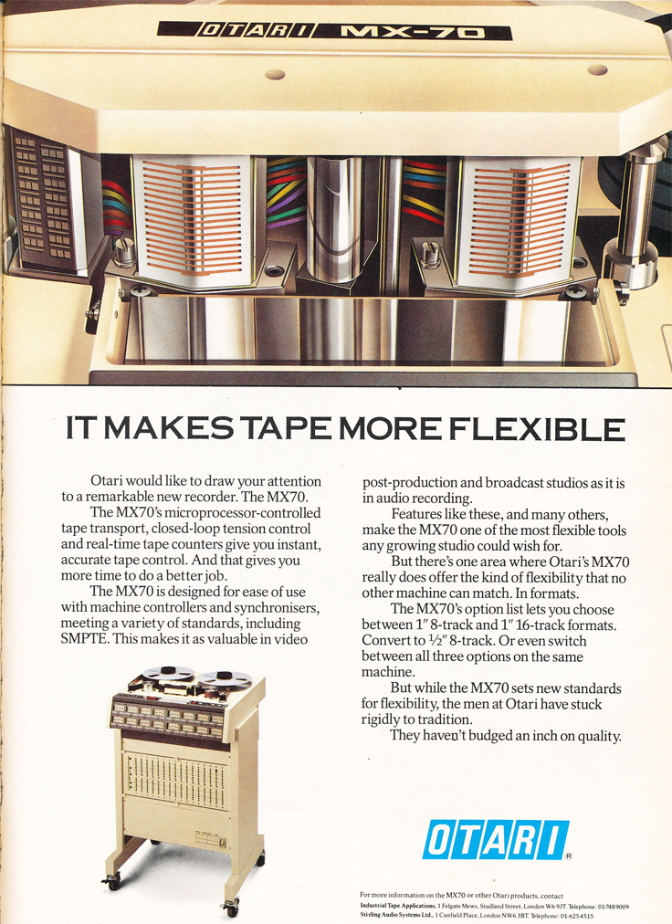1986 ad for Otari MX-70professional reel tape recorder in Reel2ReelTexas' vintage recording collection