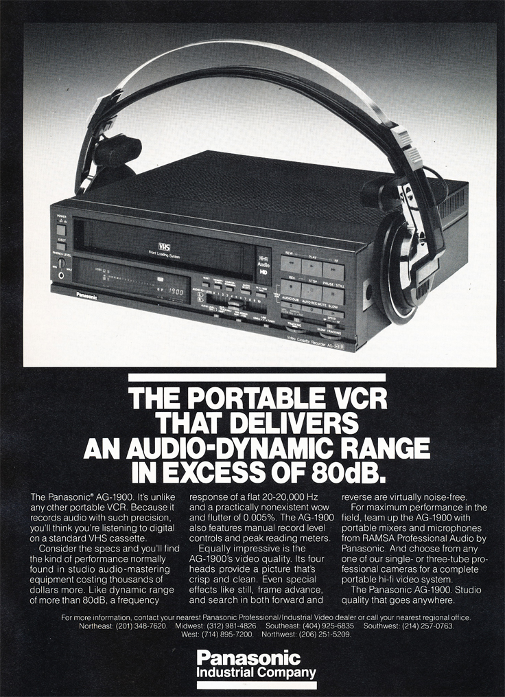 1986 ad for the Panasonic VHS digital audio recorder AG-1900 in Reel2ReelTexas' vintage recording collection