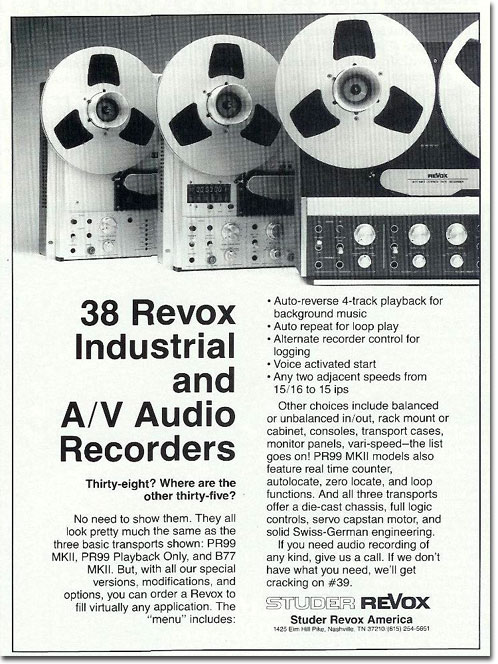 picture of Revox tape recorder ad from 1986