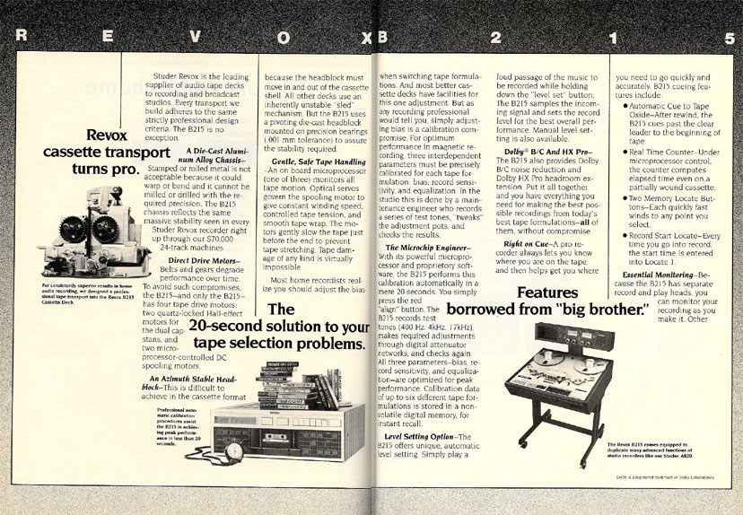 picture of ReVox Studer reel tape recorder ad from 1986