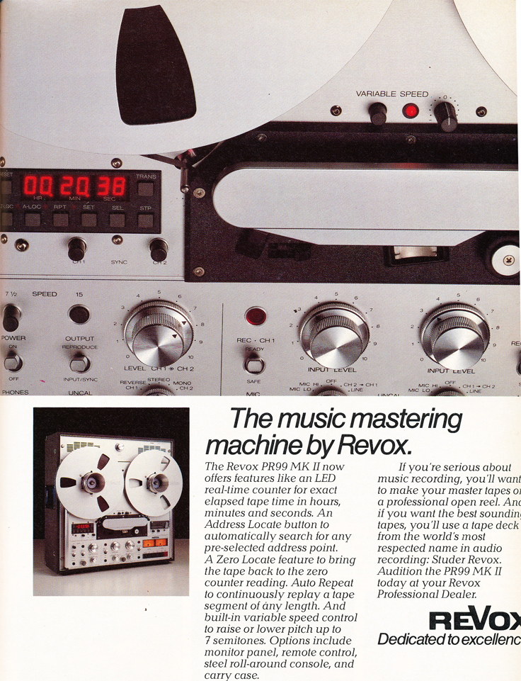1986 ad for the ReVox PR99 reel to reel tape recorder  in Reel2ReelTexas.com's vintage recording collection