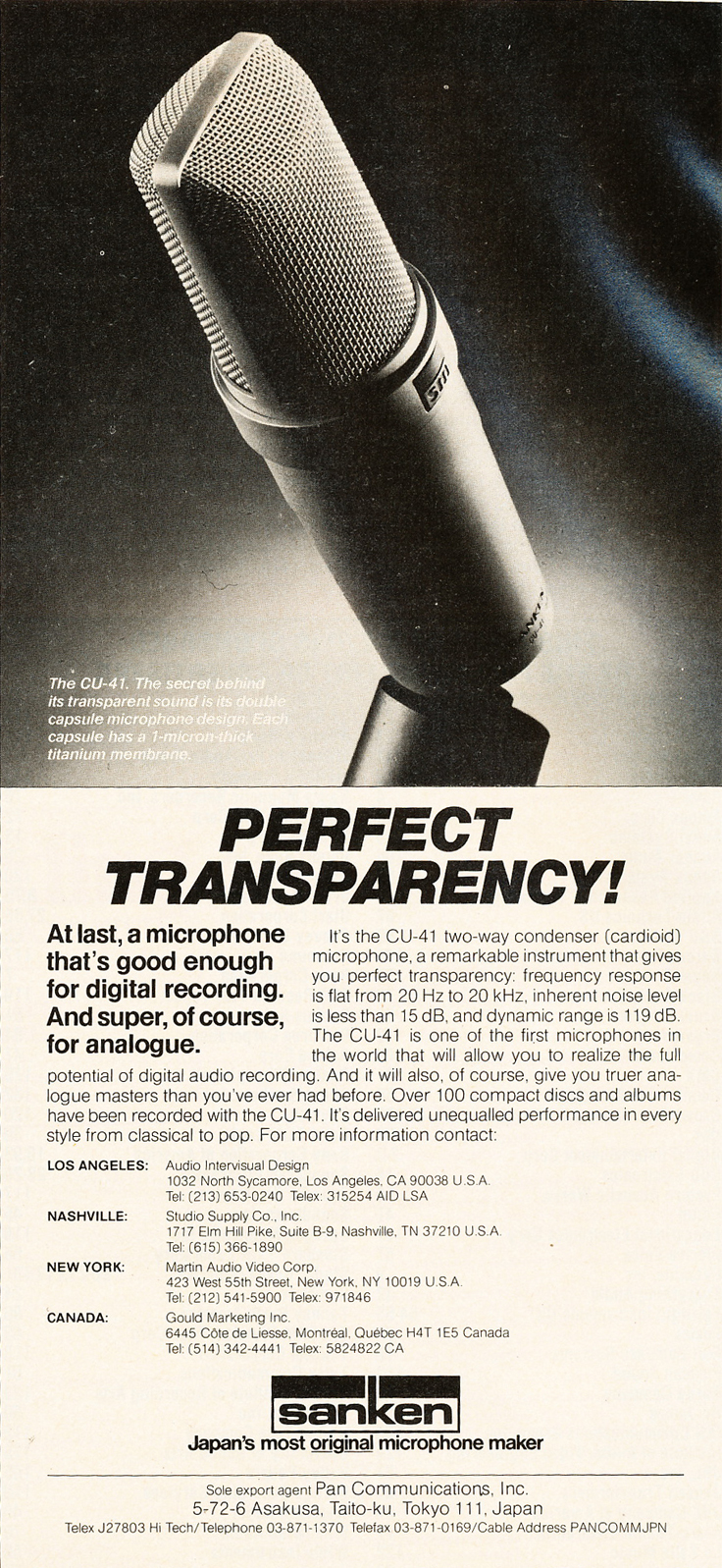 1986 ad for Sanken in Reel2ReelTexas.com's vintage recording collection