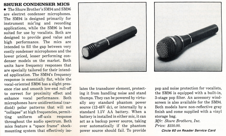 1986 review of Shure Condenser SM94 & SM96 microphones  in Reel2ReelTexas' vintage recording collection