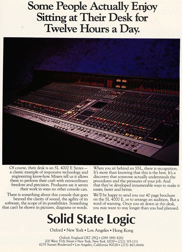 1986 ad for the Solid State Logic recording console in Reel2ReelTexas' vintage recording collection