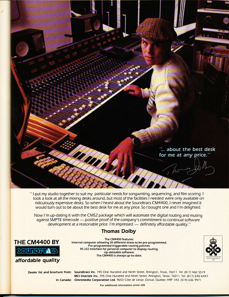 1986 ad for the Soundtracs recording console in Reel2ReelTexas' vintage recording collection
