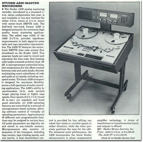 picture of Studer tape recorder information from 1986