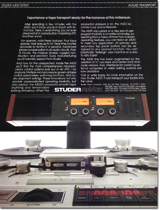 picture of Studer tape recorder ad from 1986