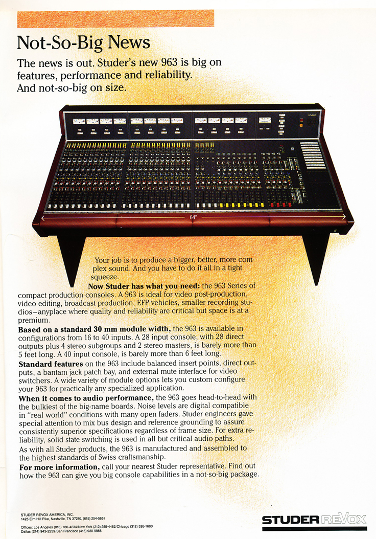 1986 ad for Studer's Series 963 recording console in Reel2ReelTexas' vintage recording collection