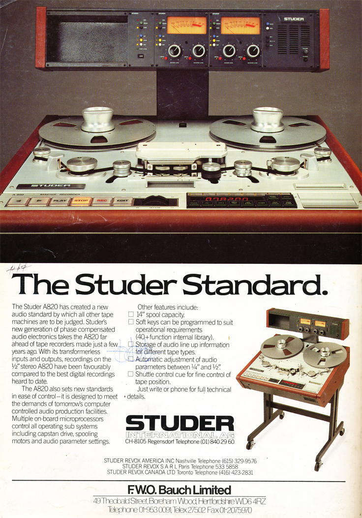1986 ad for the Studer A820 professional reel to reel tape recorder in Reel2ReelTexas' vintage recording collection