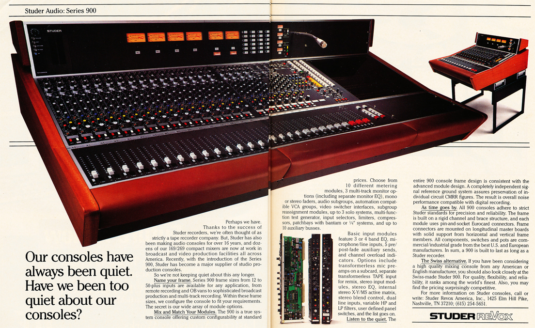 1986 ad for Studer's Series 900 recording console in Reel2ReelTexas' vintage recording collection
