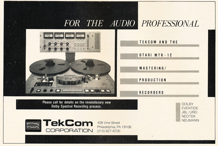 1986 ad for TekCom in Reel2ReelTexas.com's vintage recording collection