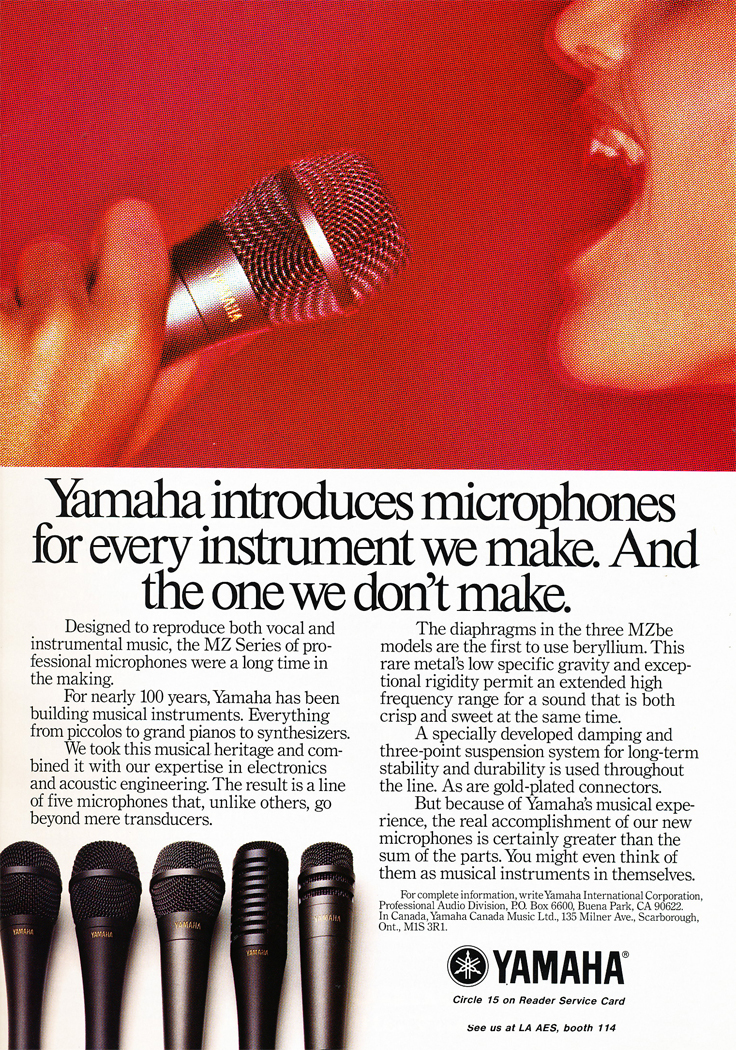 1986 ad for Yamaha microphones in Reel2ReelTexas.com's vintage recording collection