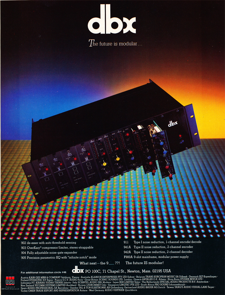 1986 ad for dbx in Reel2ReelTexas' vintage recording collection
