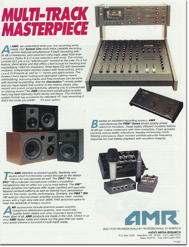 picture of AMR tape recorder ad from 1987
