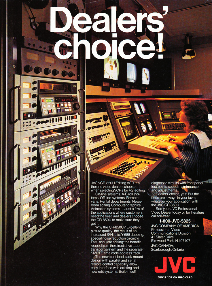 1987 ad for JVC video editing that includes an Ampex ATR-700 professional reel to reel tape recorder in Reel2ReelTexas.com's vintage recording collection