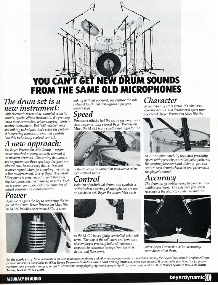 1987 ad for Beyer microphones in Phantom Productions' vintage reel to reel recording collection
