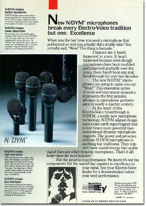 picture of Electro Voice microphone ad from 1987