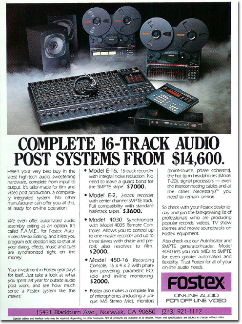 picture of Fostex tape recorder ad from 1987