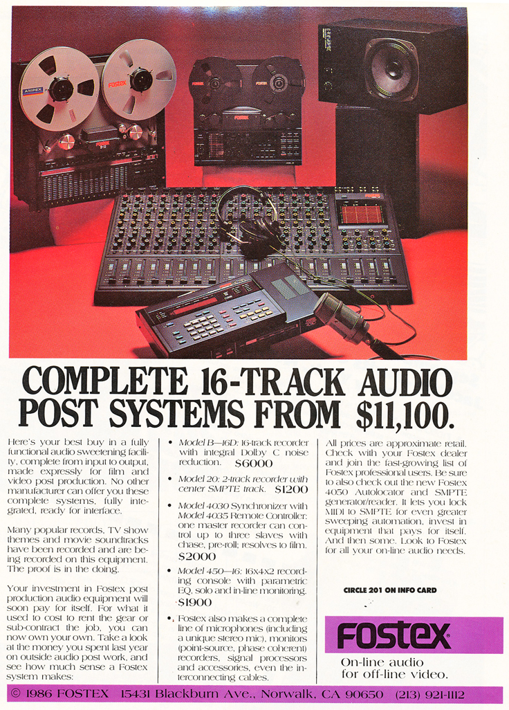 1987 ad for Fostex 16 track recording system in   Reel2ReelTexas.com's vintage recording collections