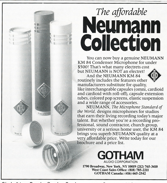 1987 ad for Gotham Audio featuring Neumann microphones in Phantom Productions' vintage reel to reel recording collection