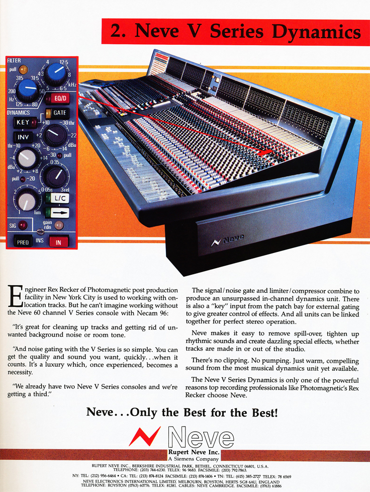 1987 ad for Neve recording consoles in Phantom Productions' vintage reel to reel recording collection