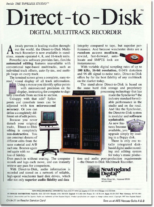 picture of New England Digital ad from 1987