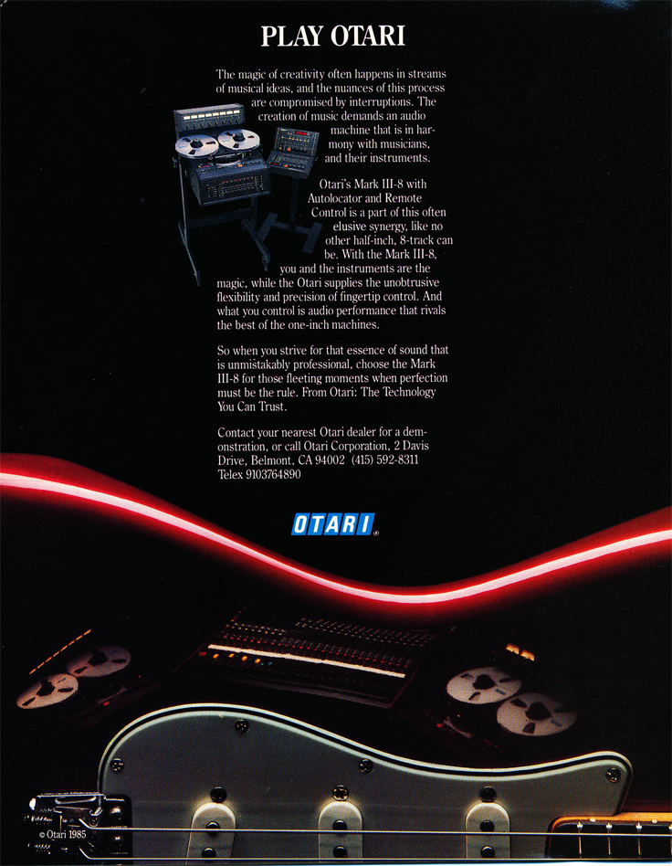 1987 ad for Otari Mark III 8 track recorder in Phantom Productions' vintage reel to reel recording collection