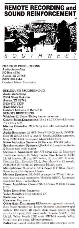 phantom's 1987 listing in the Mix Magazine Remote recording listings