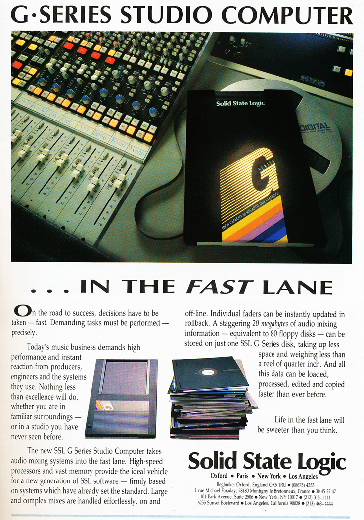 1987 ad for SSL Solid State Logic recording consoles in Phantom Productions' vintage reel to reel recording collection