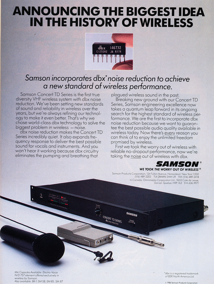 1987 ad for Samson wireless microphones in Phantom Productions' vintage reel to reel recording collection