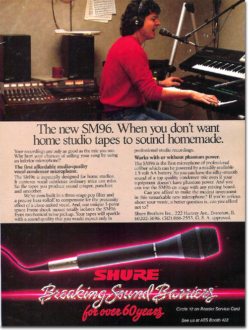 picture of Shure microphone ad from 1987