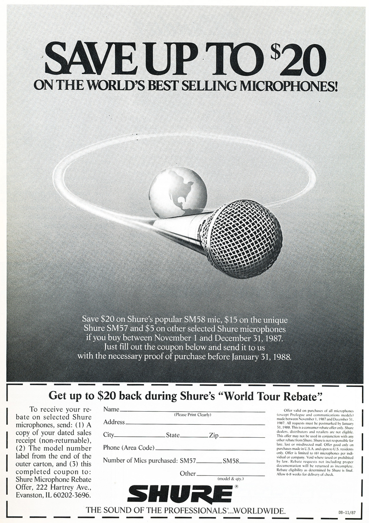 1987 ad for the Shure SM58 microphone in Phantom Productions' vintage reel to reel recording collection