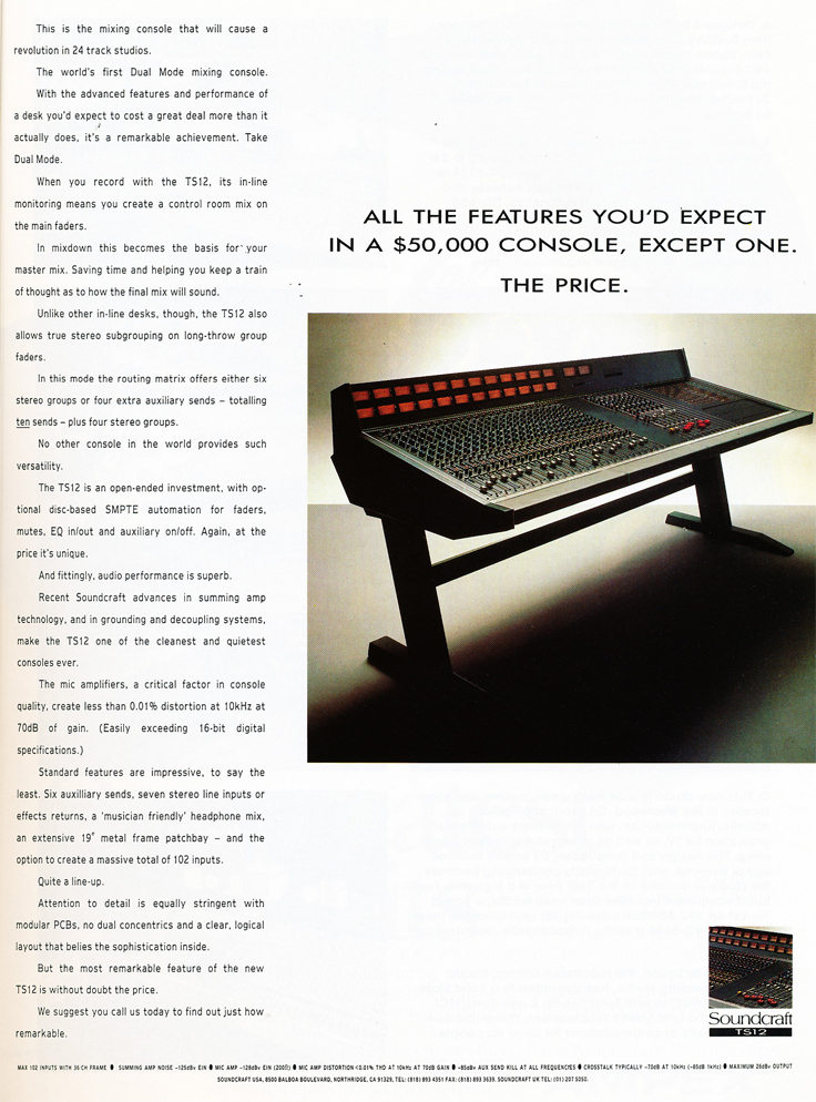 1987 ad for Soundcraft recording consoles in Phantom Productions' vintage reel to reel recording collection