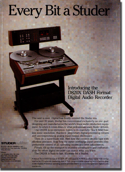picture of Studer reel tape recorder ad from 1987