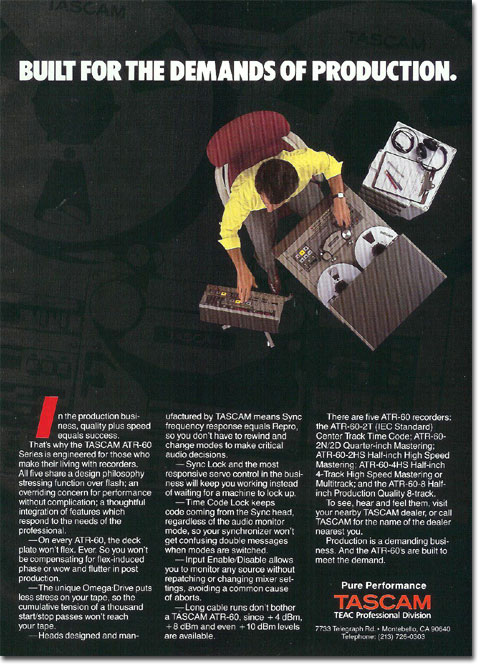 picture of Tascam reel tape recorder ad from 1987