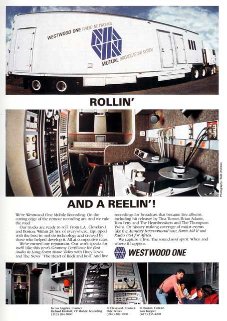 1987 Westwood One ad in Reel2ReelTexas.com's vintage recording collection