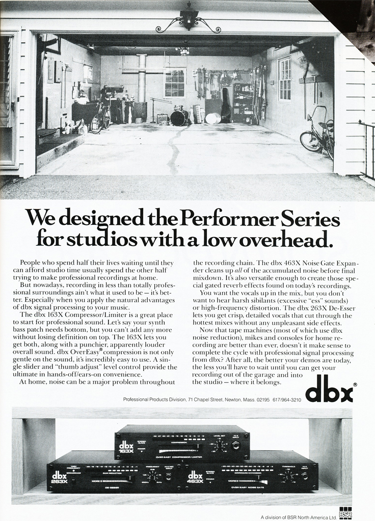 1987 ad for the dbx in Phantom Productions' vintage reel to reel recording collection