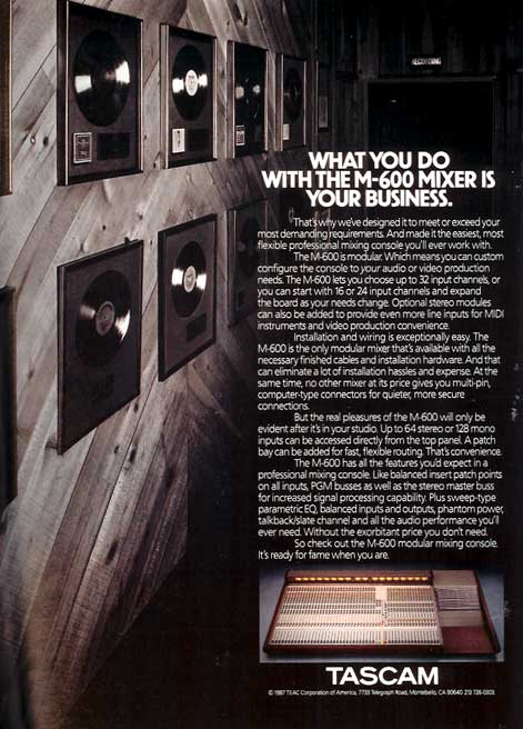 1989 ad for Tascam mixer in Reel2ReelTexas' vintage recording collection