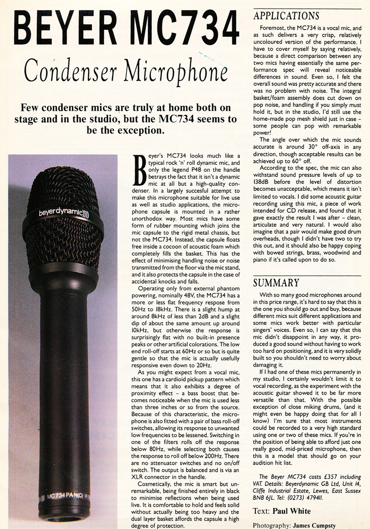 1989 ad for the Beyer MC 734 microphone in Reel2ReelTexas.com's vintage recording collection