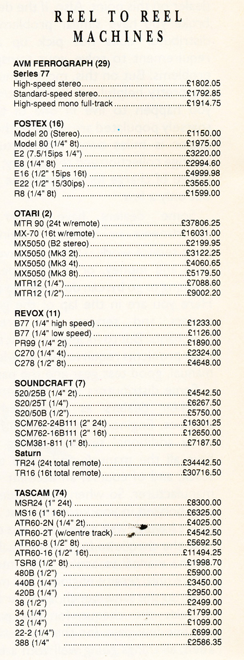 1989 United Kingdom prices for reel to reel tape recorders in Reel2ReelTexas.com's vintage reel tape recorder collection