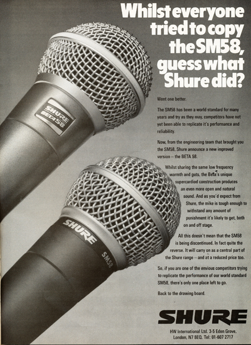 1989 United Kingdom Shure SM58 microphone ad  in Reel2ReelTexas.com's vintage reel tape recorder collection