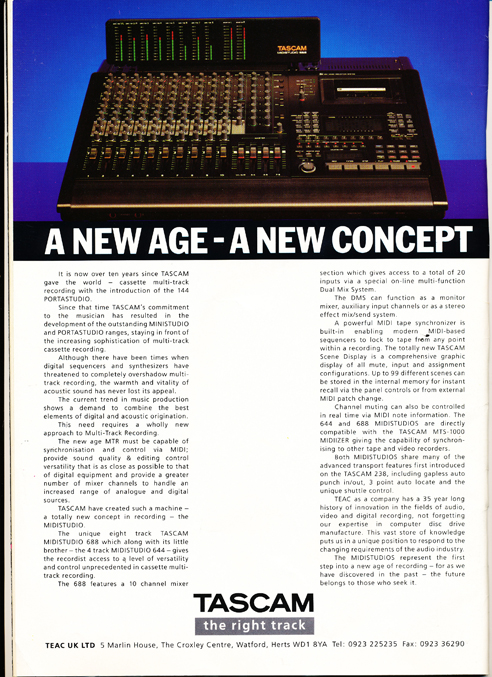 1989 United Kingdom Tascam mixer ad  in Reel2ReelTexas.com's vintage reel tape recorder collection