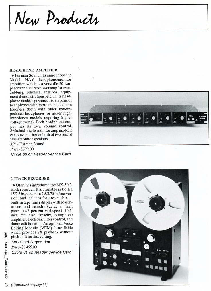 1989 New products including the Otari MX-50